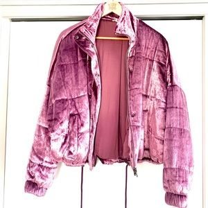 Free People Pink Velvet Puffer Bomber Jacket NWOT